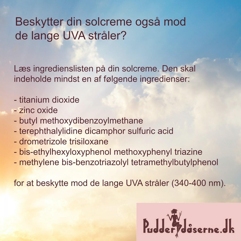 Ingredienser der beskytter mod lange UVA stråler