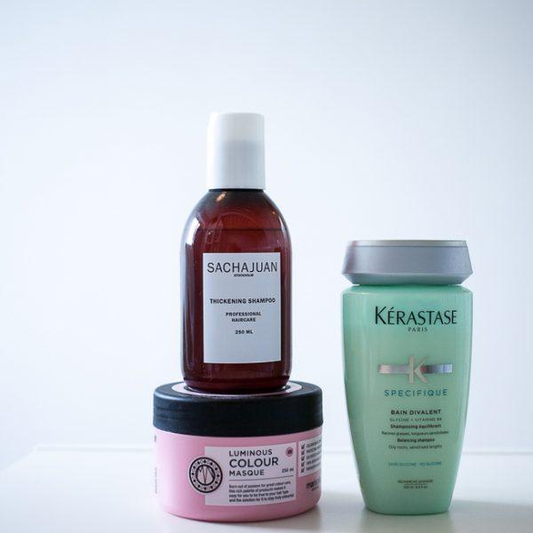 Min nuværende hårrutine: Kerastase Specifique Bain Divalent, Sachajuan Thickening Shampoo og Maria Nila Luminous Colour Masque